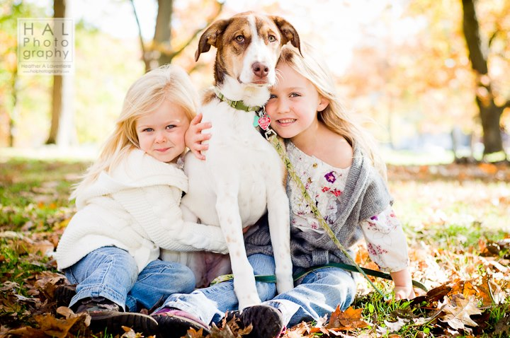 Fun Fall Maine Family Portaits - Sisters with Dog
